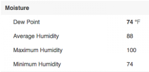 Humidity levels Houston, Texas August, 2016