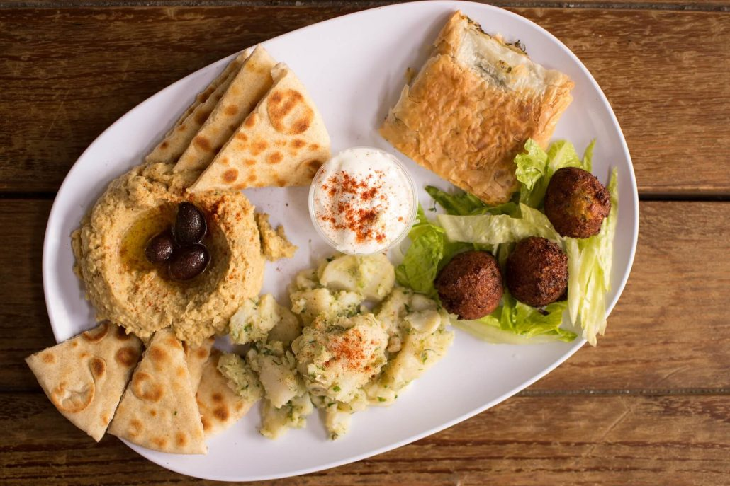 Traditional Greek Food: Hummus and Falafel